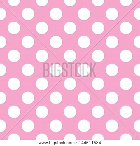 Vector pattern with polka dots on pink background