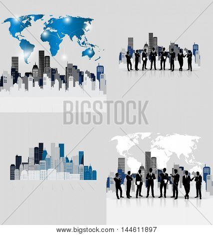 Business people silhouettes with building background. Vector illustration