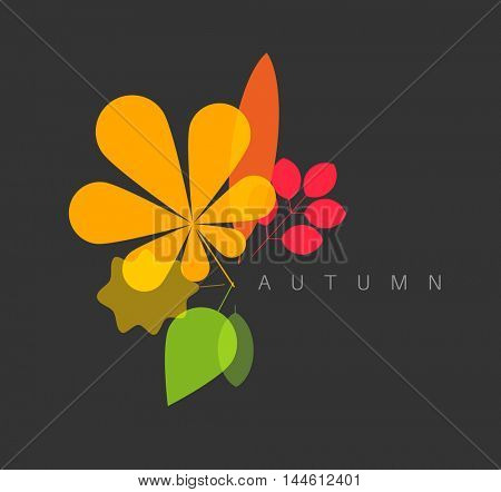Autumn abstract floral background made from minimalist leafs with place for your text - dark version
