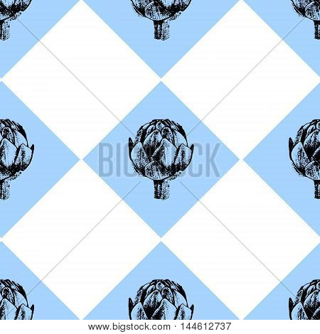 Cute and fresh seamless pattern with artichoke - ideal for restaurants kitchens