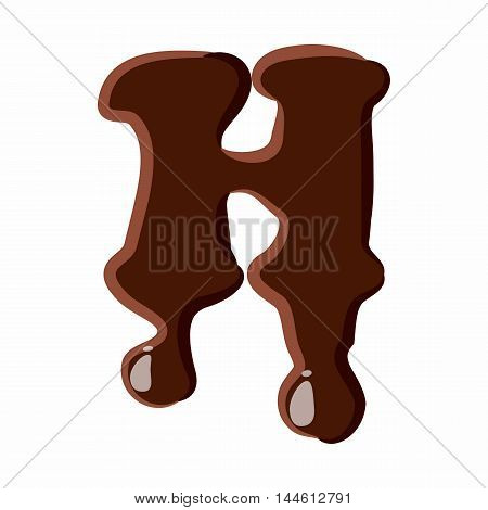 Letter H from latin alphabet with numbers and symbols made of dark melted chocolate