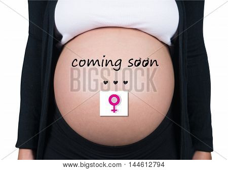 Coming Soon. Pregnant Woman With Female Symbol In Front Of Her Belly