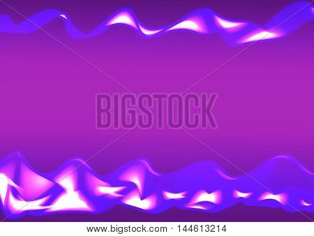 Blue wavy shiny ribbon on a purple background