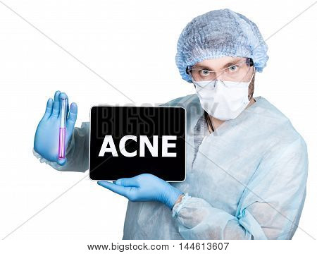 Doctor in surgical uniform, holding test tube and digital tablet pc with acne sign. internet technology and networking in medicine concept. Isolated on white.