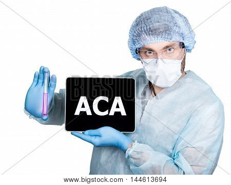 Doctor in surgical uniform, holding test tube and digital tablet pc with aca sign. internet technology and networking in medicine concept. Isolated on white.