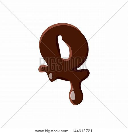 Letter Q from latin alphabet with numbers and symbols made of dark melted chocolate