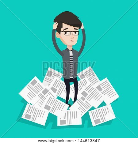 Overworked man clutching head because of having a lot of work to do. Businessman surrounded by lots of papers. Businessman standing in the heap of papers. Vector flat design illustration.Square layout
