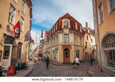 TALLINN ESTONIA - JUNE 30 2013: Lovely house on the longest Pikk street of the old town of Tallinn