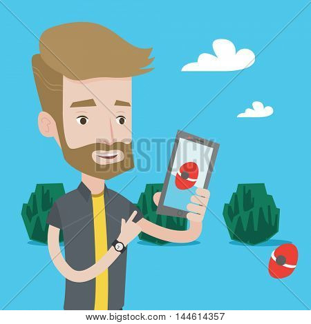 Hipster man with the beard playing action game on smartphone. Young man playing with his mobile phone outdoor. Man using smartphone for playing games. Vector flat design illustration. Square layout.