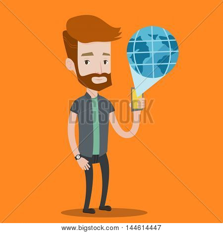 A hipster man with the beard holding a smartphone with a model of planet earth coming out of the device. International technology communication concept. Vector flat design illustration. Square layout.
