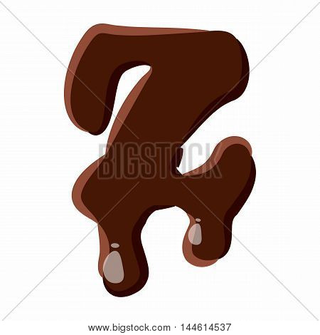 Letter Z from latin alphabet with numbers and symbols made of dark melted chocolate