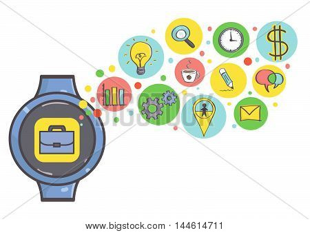 Smart watch illustration with set of business icons. Vector.