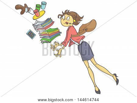 Illustration of overworked business woman, secretary or trainee stumbling and dropping office stuff and coffee.