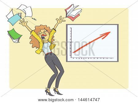 Cartoon illustration of overjoyed business woman because business chart is showing business growth and success. Woman and business success. Vector.