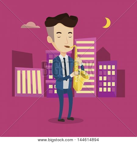 Pleased musician playing on saxophone. Man with his eyes closed playing on saxophone in the night. Musician with saxophone in the city street. Vector flat design illustration. Square layout.