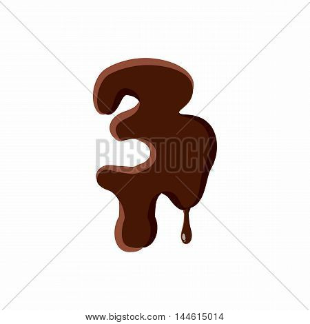Number 3 from latin alphabet with numbers and symbols made of dark melted chocolate