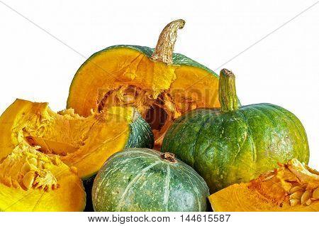 Autumn Pumpkins On White Background