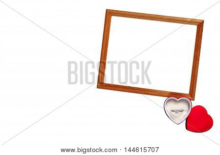 Frame Valentine's Day with ring isolation background