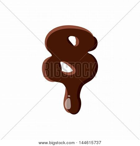 Number 8 from latin alphabet with numbers and symbols made of dark melted chocolate