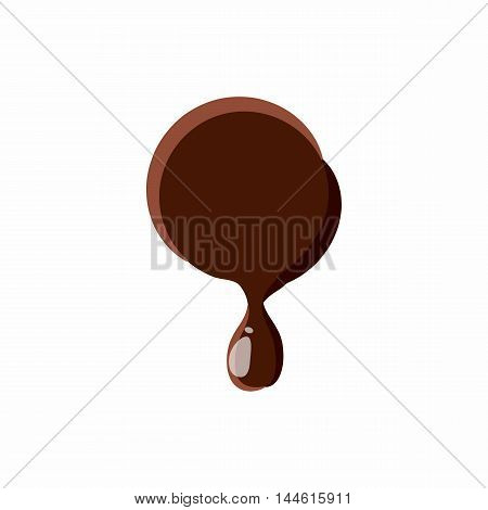 Punctuation mark point from latin alphabet with numbers and symbols made of dark melted chocolate
