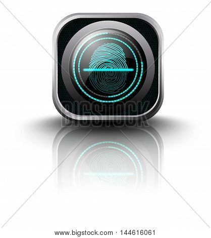 Illustration of  Fingerprint Scanner on isolated white background