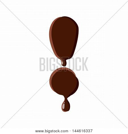 Exclamation mark from latin alphabet with numbers and symbols made of dark melted chocolate