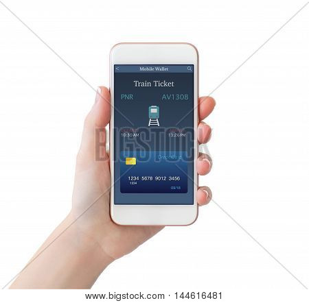 isolated woman hand holding white phone with online train ticket on screen