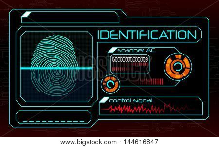 Illustration of  blue Fingerprint scanner, identification system