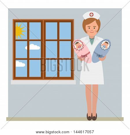 Nurse and the twins in the hospital