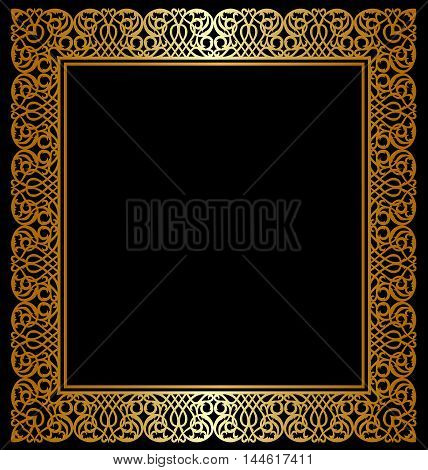 Gold frame with ornament on black background
