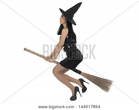 Asian Witch Woman Ride The Broom