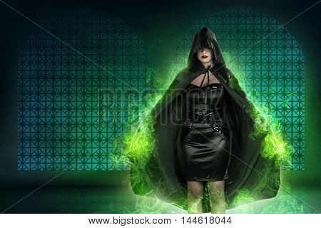 Young Asian Witch Woman With Green Fog Background