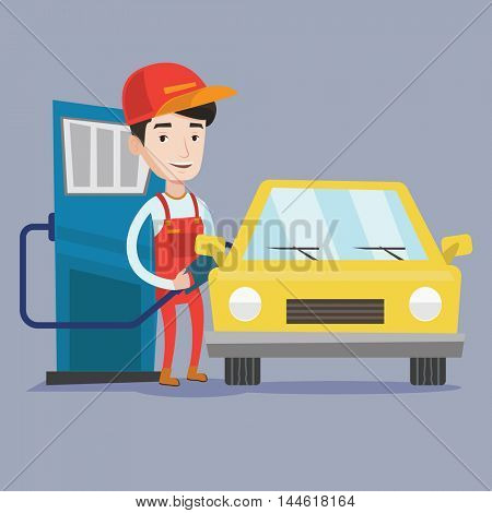 A friendly worker filling up fuel into the car. Smiling worker in work wear at the gas station. Gas station worker refueling a car. Vector flat design illustration. Square layout.