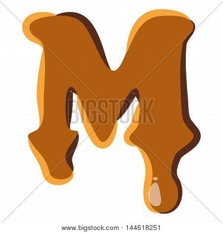 Letter M from caramel icon isolated on white background. Alphabet symbol