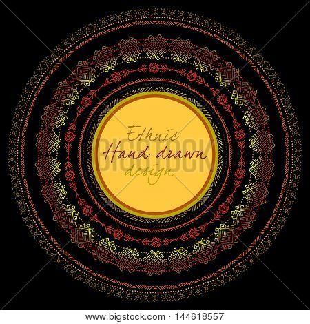 Sunny circle tribal ornament frame with round label and text place in black background. Geometric ethnic colorful design. Vector illustration stock vector.