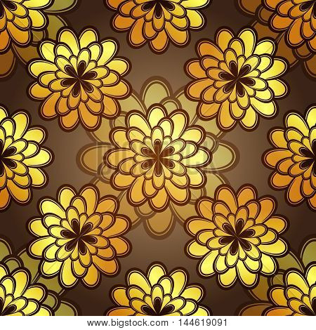 Seamless dark pattern with gold vintage flowers vector eps10