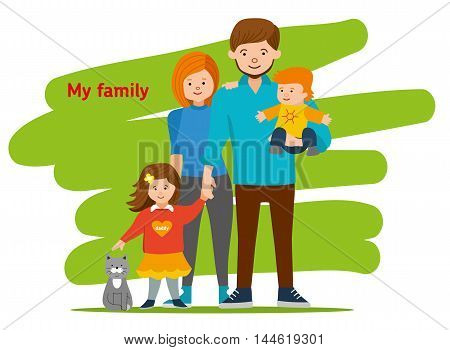 Young family together and happy. Mom, dad, children and cat. Vector illustration of a flat design