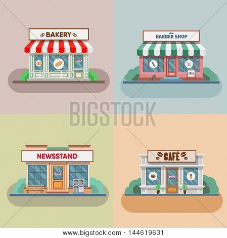 Barber, bakery and newsstand, cafe facade in the town. Vector illustration