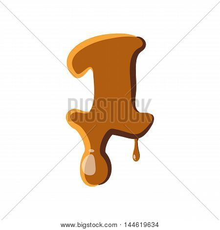 Number 1 from caramel icon isolated on white background. Figure symbol