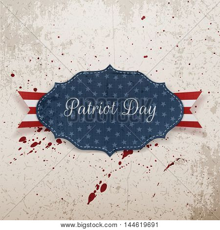 Label Template with Patriot Day Text and Ribbon on grunge background. Vector Illustration