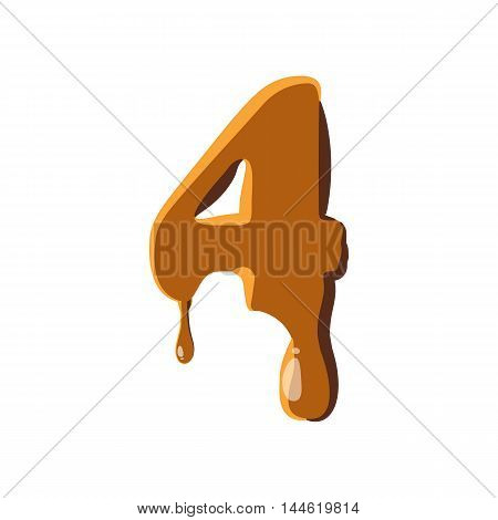 Number 4 from caramel icon isolated on white background. Figure symbol