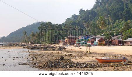 Rocky Tropical Beach With Some Resorts, Tioman Islands, Malaysia, Panorama