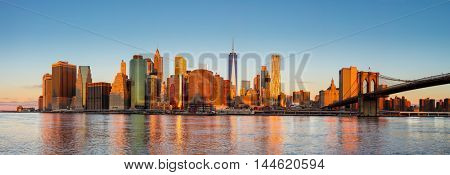 New York City Panorama - Manhattan over the river early morning, gentle sun colors, very big size
