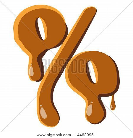 Percentage from caramel icon isolated on white background. Punctuation symbol