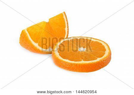 cut orange fruits isolated on white background