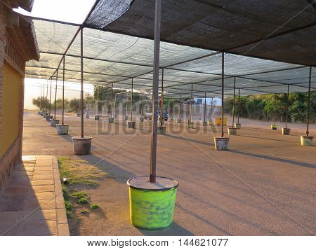 Tarpaulined feria ground ready for Alora Romeria