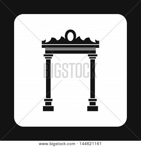 Ornamental arch icon in simple style isolated on white background. Construction symbol