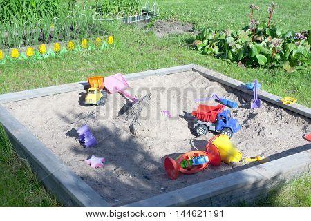 Wooden Sandpit In The Garden