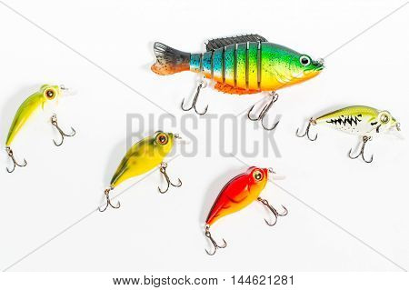Fishing baits closeup isolated on white background
