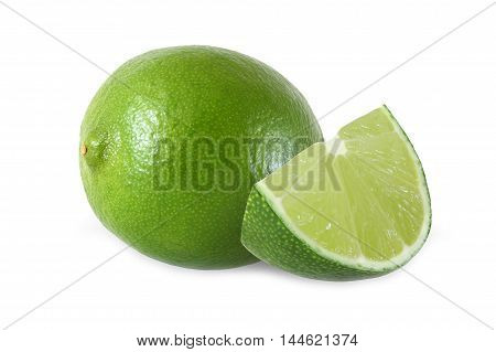cut and whole lime fruits isolated on white background